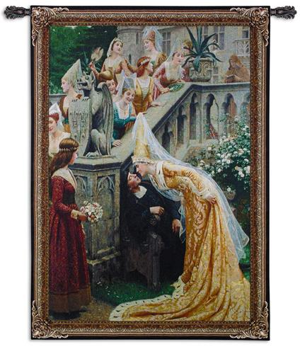 A Kiss Romantic Tapestry Wall Hanging - from a painting of Leighton, 37in x 53in