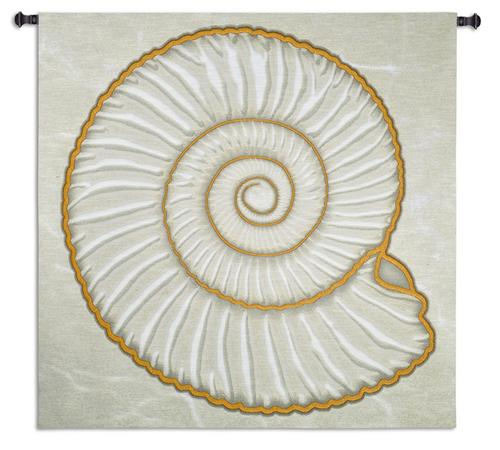 Ammonite Tapestry Wall Hanging, 51in x 52in - Contemporary Collage