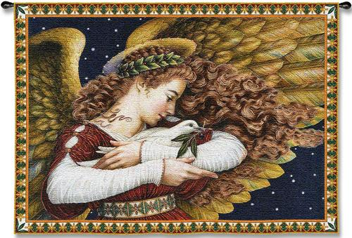Angel & Dove Christmas Tapestry Wall Hanging - Holiday Decor Idea, 53in X 37in