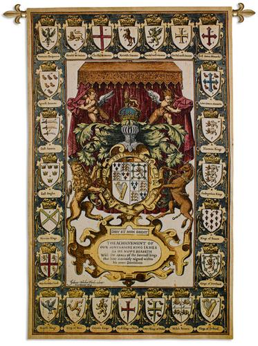 Armes Of Kings Tapestry Wall Hanging, 39in x 63in - Ornamental Design