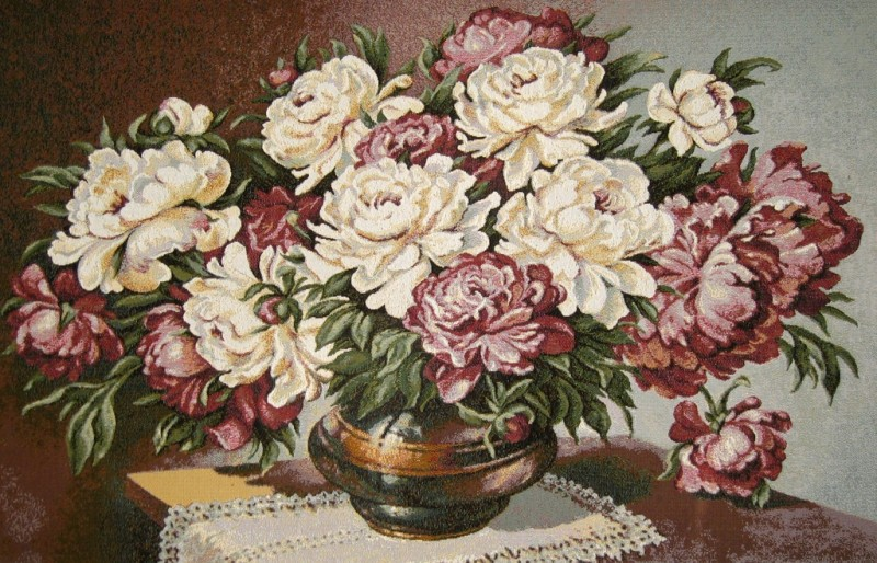 Blossoming Bouquet Floral Still Life Tapestry Wall Hanging - Flowers In A Vase Picture, 36in x 24in