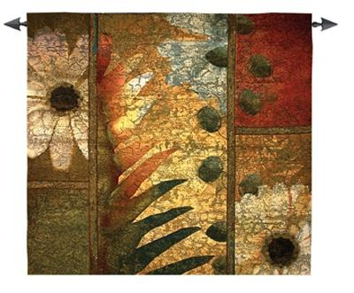 Botanical Contemporary Tapestry Wall Hanging - Abstract Floral Design, 53in x 53in