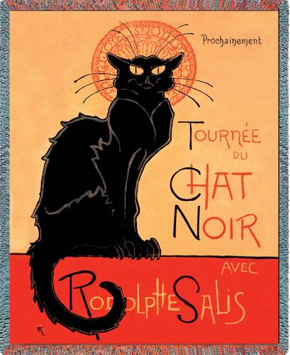 Le Chat Noir (The Black Cat) Tapestry Throw, 70in x 53in