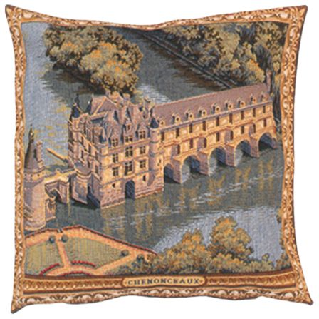 Chenonceau Castle Tapestry Cushion Cover - European Home Decor Collection, 18in x 18in cushion cover