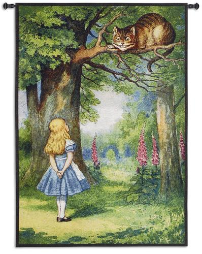 Cheshire Cat Kids Decor Tapestry Wall Hanging - Picture Of Alice In Wonderland, 31in x 44in