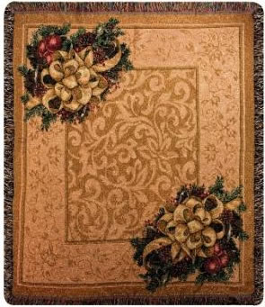 Christmas Bows of Gold Tapesty Throw, 50in x 60in