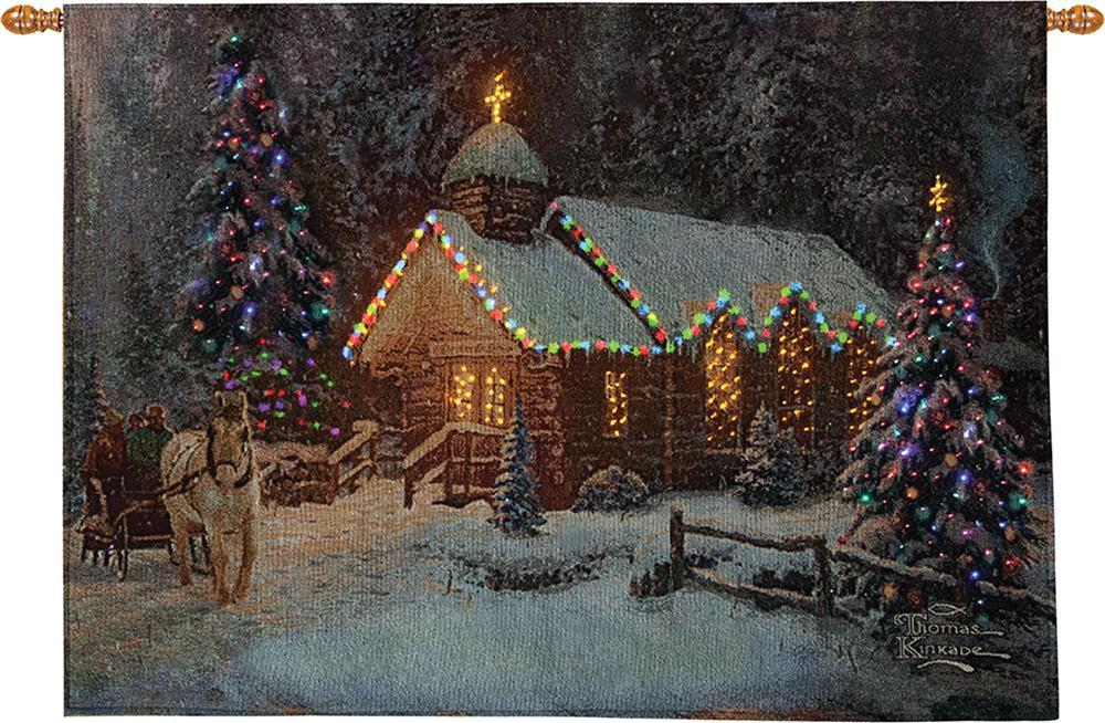 Christmas Chappel Fiber Optical Wall Hanging, 26inx36in - Winter Holidays Decor Idea