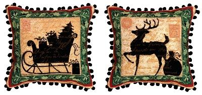 Christmas Silhouettes Reindeer Pillow 2, 12.5inx12.5in - Winter Holidays D?cor Idea