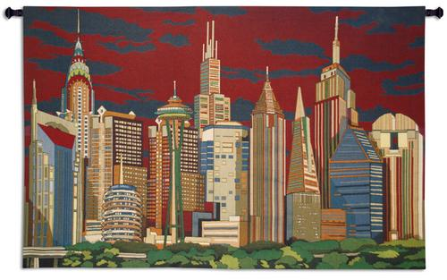 Cityliners Tapestry Wall Hanging, 63in x 41in - Urban Art With Skyscrapers