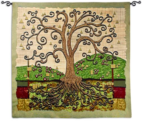 Conklimtary Tapestry Wall Hanging - Abstract Tree Of Life, 53in x 53in