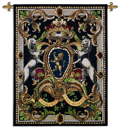 Crest On Black I Tapestry Wall Hanging, 41in x 53in - Rich Classic Ornament