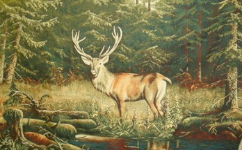 Deer Wild Life Tapestry Wall Hanging - Animal Picture, 48in x 30in