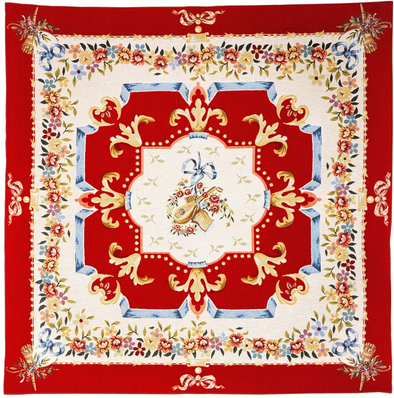 Divertissement Rouge Tapestry Throw - European Home Decor Collection, 57in x 57in
