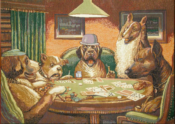 "Dogs Playing Poker Tapestry Wall Hanging Size: 30"" x 22"" More info $39.95"