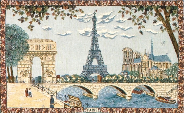 Belgian Wall Tapestry Paris - Eiffel Tower, European City View, 19in X 30in