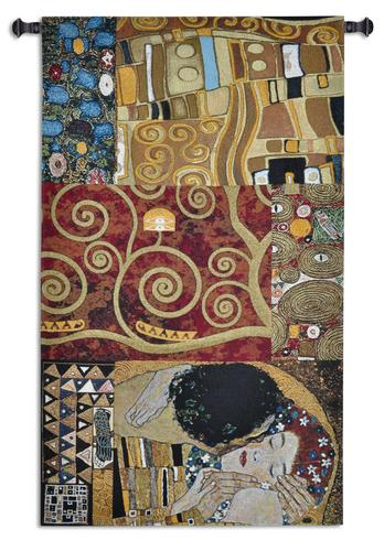 Elements to a Kiss Tapestry Wall Hanging, 59in x 34in - Abstract Klimt Motifs