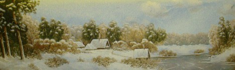 First Show Winter Landscape Tapestry Wall Hanging - Rural Picture, 60in x 19in