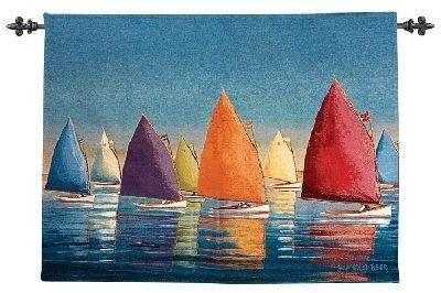 Flying Colors Nautical Tapestry Wall Hanging - Picture Of Sails, 47in x 35in