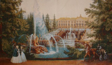 Fountains Of Peterhoff Old World Scene Tapestry Wall Hanging - Park View, 32in x 20in