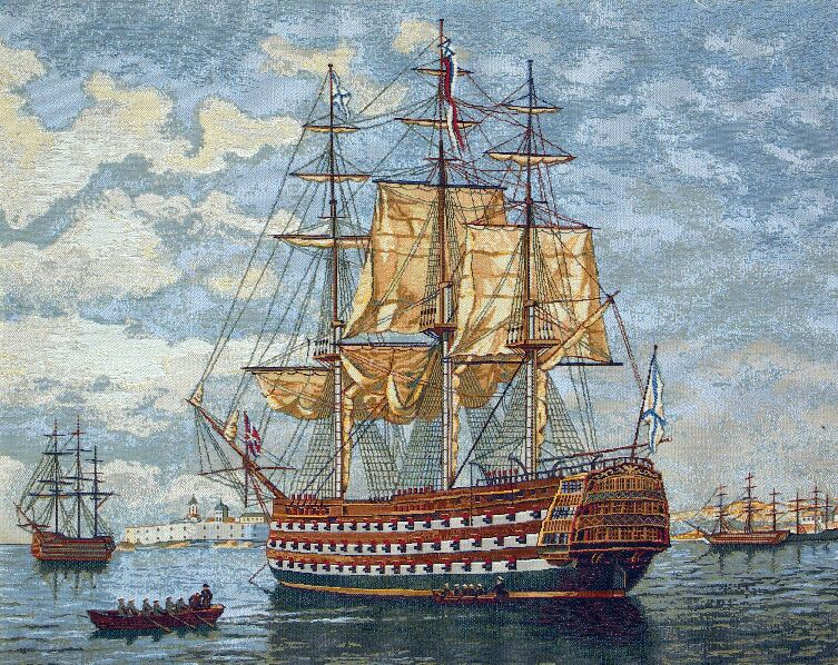 Frigate Nautical Scene Tapestry Wall Hanging - Old World Picture, 28in x 22in