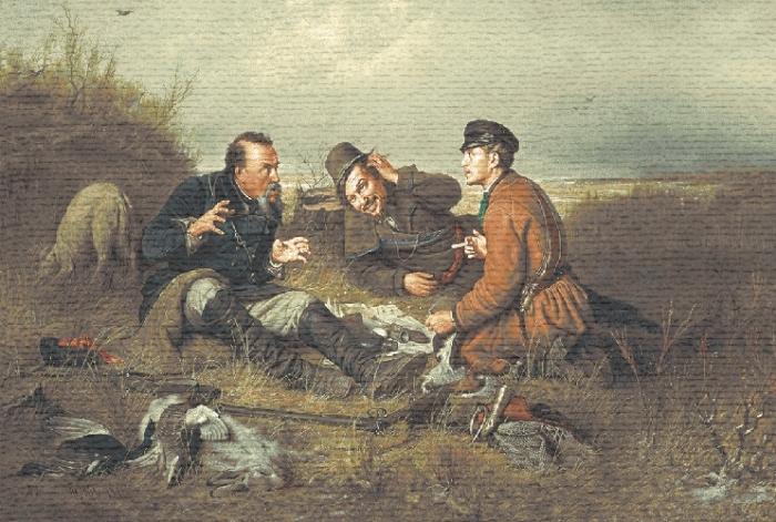 Hunters At Rest II Hunting scene Tapestry, H28in x W46in