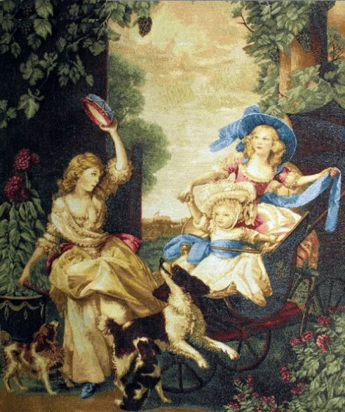 Kids Of The King Romantic Tapestry Wall Hanging - Children Portrait, 30in x 38in