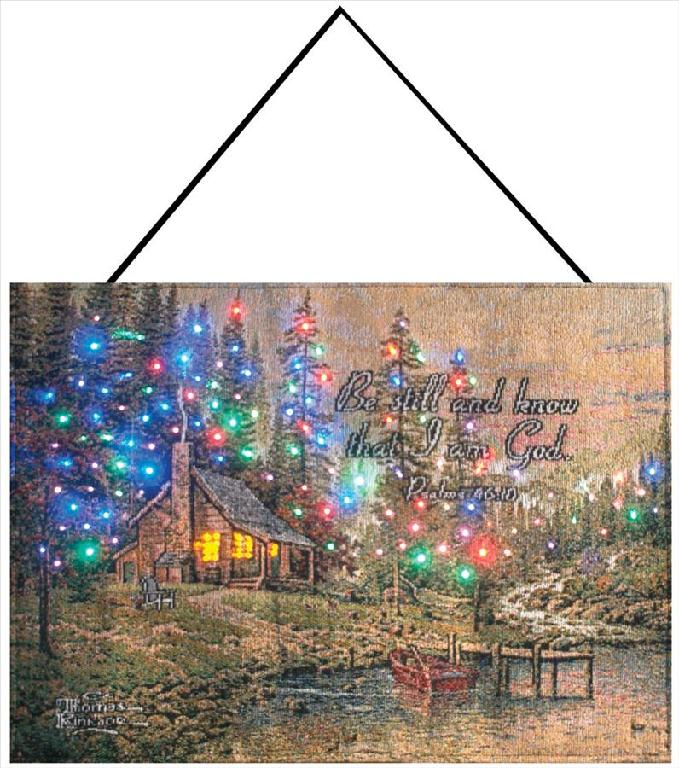 Kinkade Peaceful Retreat Fiber Optical Bannerette, 18inx13in - Winter Holidays Decor Idea