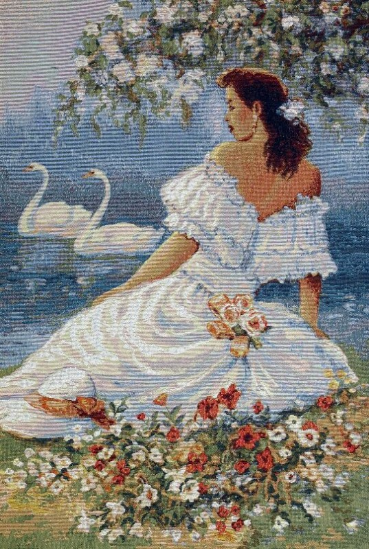 Lady In White Romantic Tapestry Wall Hanging - Beautiful Lady Portrait, 20in x 28in