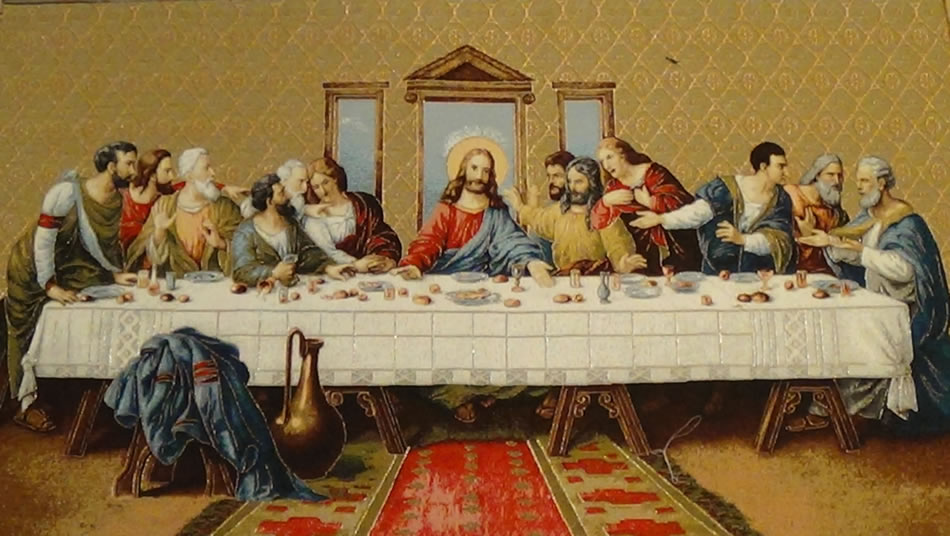 Last Supper V Tapestry Wall Hanging, H28in x W52in
