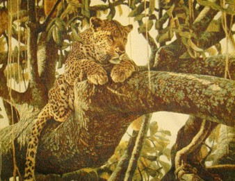 Leopard On The Tree Wild Life Tapestry Wall Hanging - Animal Picture, 40in x 32in