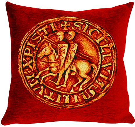 Les Templiers Tapestry Cushion Cover - European Home Decor Collection, 18in x 18in cushion cover