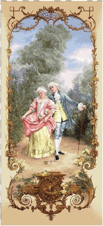 Lesson Of Flirtation III Romantic Pastoral Scene Tapestry Wall Hanging, H68inx W28in