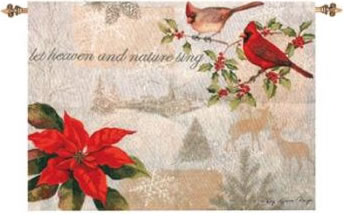 Let Heaven and Nature Sing Wall Hanging, 26inx36in - Winter Holidays Decor Idea