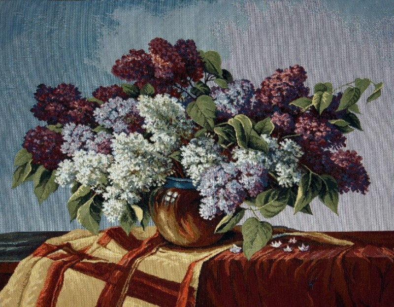 Lilac Floral Still Life Tapestry Wall Hanging - Flowers In A Vase Picture, 26in x 20in