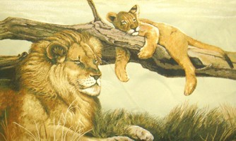 Lions Resting Wild Life Tapestry Wall Hanging - Animal Picture, 52in x 32in