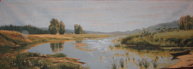 Long River Landscape Tapestry Wall Hanging - Nature Picture, 58in x 20in
