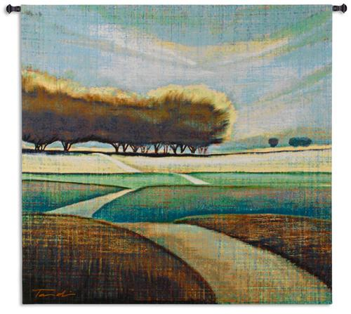 Looking Back II Tapestry Wall Hanging, 52in x 48in - Contemporary Landscape