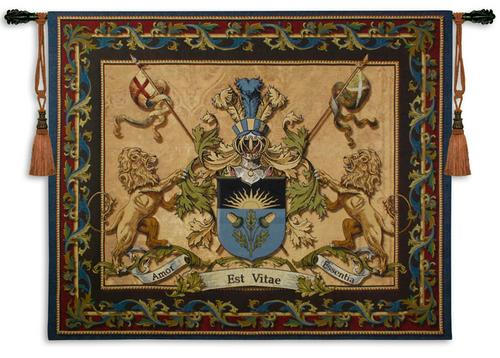 Love Strength Courage Tapestry Wall Hanging, 53in x 64in - Heraldic Ornament