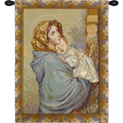 Religious Wall Tapestry Madonna With The Child By Ferruzzi, 18in X 22in no border