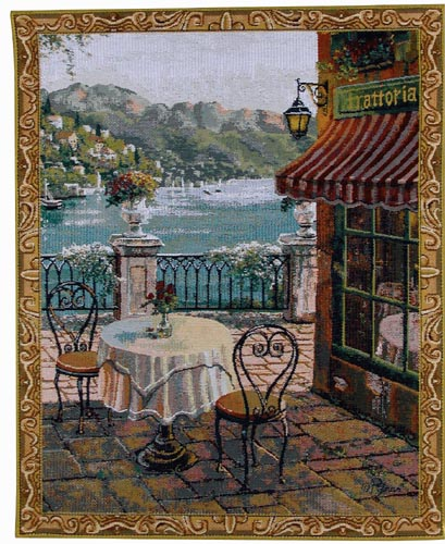 Mediterranean Terrasse Small Tapestry - from the painting of Pejman, 26in x 20in