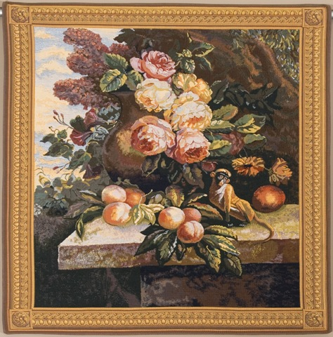 Monkey In Still Life II Tapestry Wall Hanging, 39in x 57in