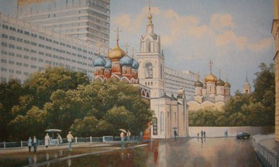 Moscow Cityscape Tapestry Wall Hanging - European City Scene, 54in x 30in