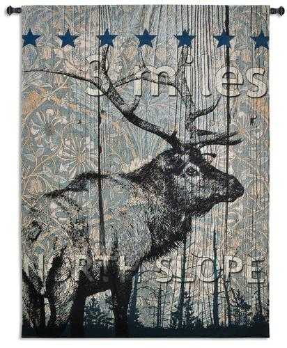 North Slope Tapestry Wall Hanging, 70in x 52in - Abstraction With Elk