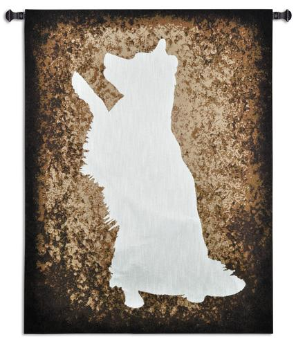 Obeying His Master Tapestry Wall Hanging, 52in x 40in - Dog Silhouette