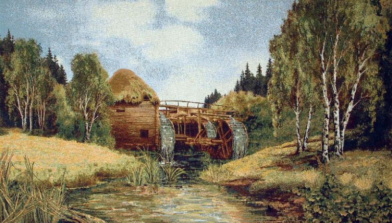 Old Mill Old World Landscape Tapestry Wall Hanging - Country Scene, 48in x 28in