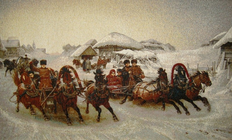 Pancake Week Winter Country Scene Tapestry Wall Hanging - Russian Folk Picture, 32in x 20in