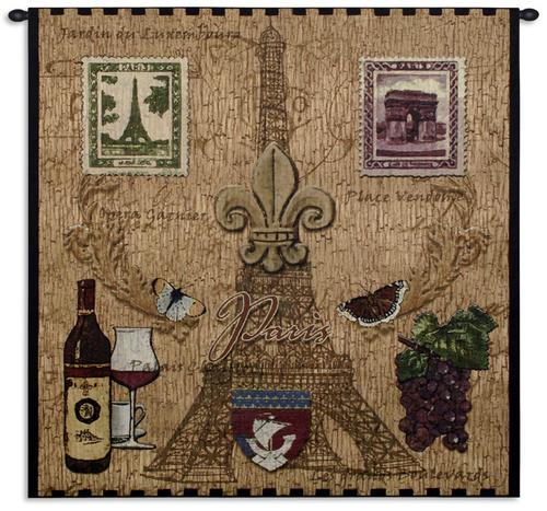Paris With Love Tapestry Wall Hanging, 53in x 53in - Vintage Collage