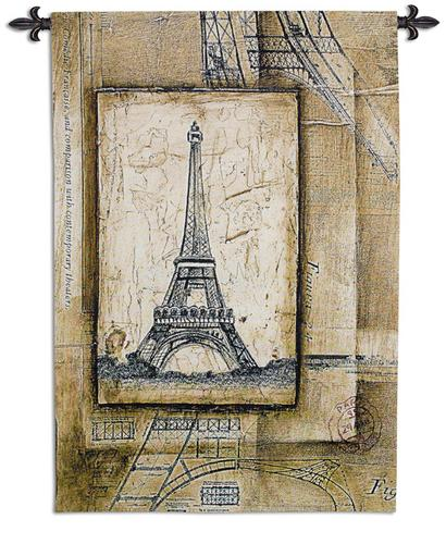 Passport To Eiffel Tapestry Wall Hanging, 36in x 53in - Retro Style