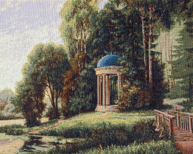 Patio Small Landscape Tapestry Wall Hanging - Garden Scene, 25in x 20in