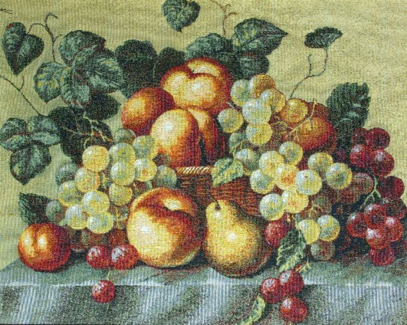 Peach And Grape Classic Still Life Tapestry Wall Hanging - Fruit Picture, 20in x 16in